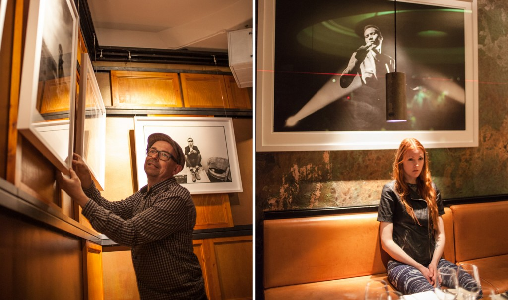 Mats Bäcker har fotoutställning på Vassa Eggen. Sista fixet före vernissagen.